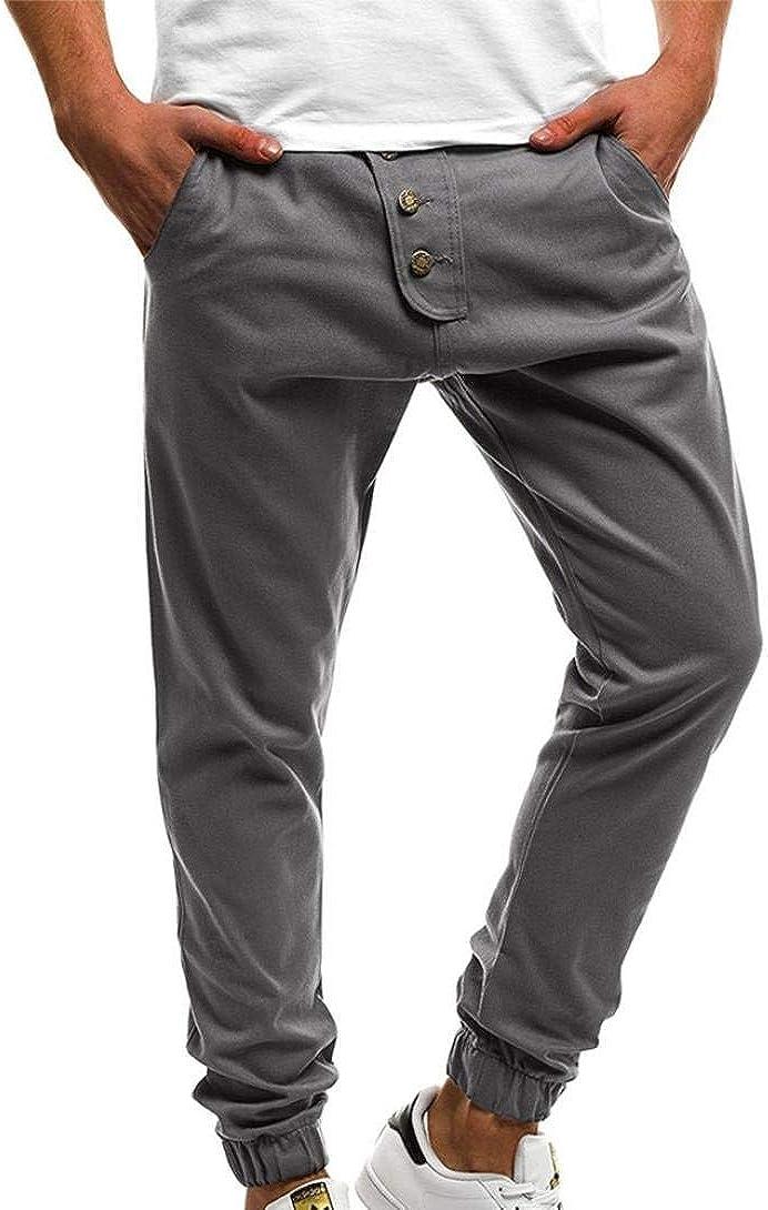 Rinalay Pantaloni Uomo Slim Fit Long Sport Chino Casual Pantaloni Pants Pantaloni Moda Vivere da Jogging con Bottoni Colori Vivaci Pantaloni Sportivi Slim Primavera Autunno