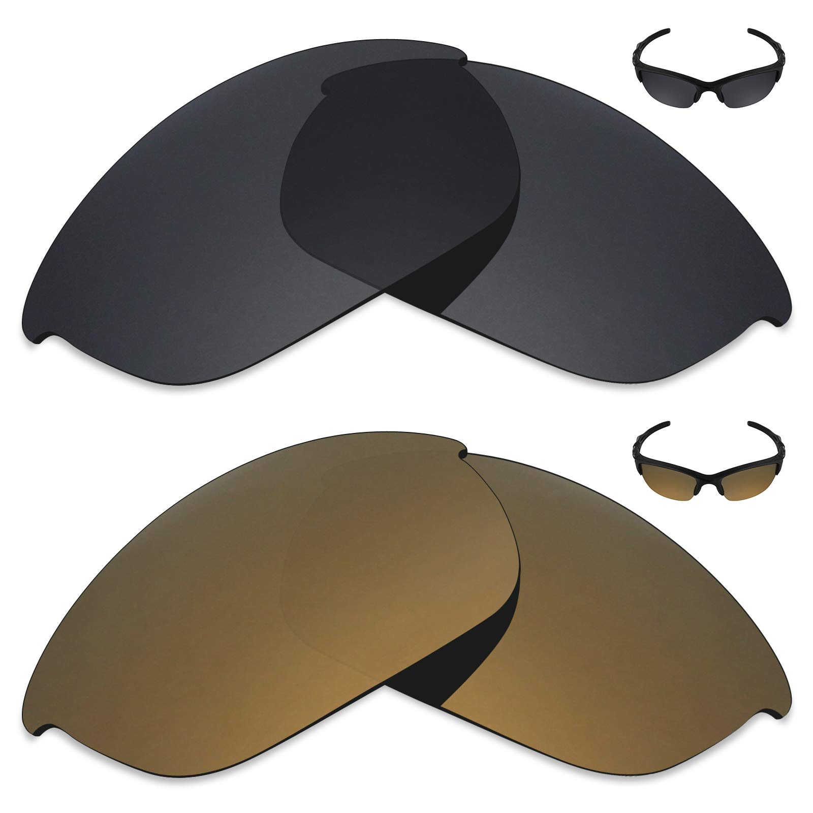 Mryok 2 Pair Polarized Replacement Lenses for Oakley Half Jacket 2.0 Sunglass - Options by Mryok
