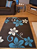Trend Brown, Teal And Off White Flower Design Rug. 8 Sizes Available (120cm x 170cm)