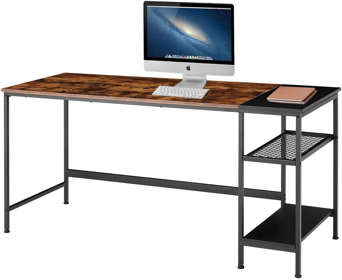 EROMMY Industrial Computer Desk with Storage Shelves,62 inch Modern Sturdy Writing Desk,PC Table with Grid Drawer,Home Office Desk Workstation for Home Office, Vintage