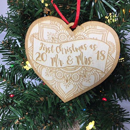 Bridal Ornaments (1st Christmas as Mr. & Mrs. 2018 - Newlywed Christmas Ornament)