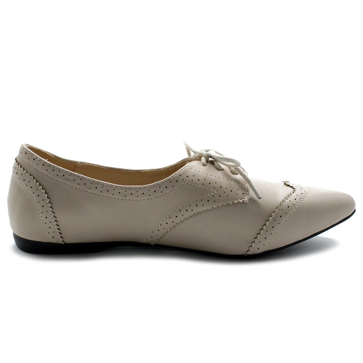 Ollio Women's Ballet Shoe Flat Enamel Pointed Toe Oxford M1818 (9 B(M) US, Beige) by Ollio (Image #5)