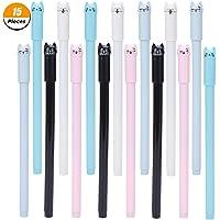 15 Pieces Cute Cat Pen 0.5 mm Gel Pens Black Ball Point Pens School Office Supplies School Birthday Gift