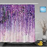 """Art Painting Beautiful Spring Landscape Shower Curtains Beautiful Purple Flowers Decor Bathroom Shower Curtains Mildew And Fade Resistant Waterproof Polyester Fabric 66""""x72""""Inch"""
