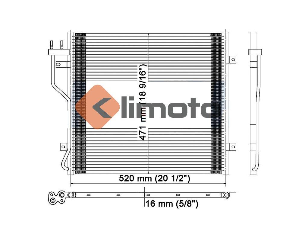Klimoto Brand New A//C Condenser fits Jeep Liberty 2002 2003 2004 2005 2.4L L4 3.7L V6 3058 CH3030154 7-3058 5183560AA