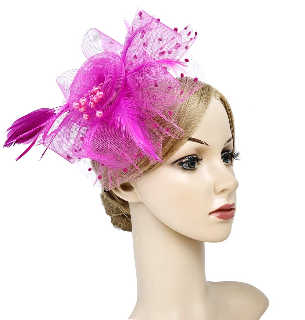 Flower Cocktail Tea Party Headwear Feather Fascinators Top Hat for Girls and Women (Fushia) by Kathyclassic (Image #2)