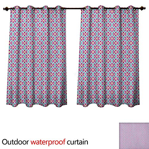 Flower Outdoor Curtain for Patio Petals Design with Overlapping Circles Pattern on Abstract Background W96 x L72(245cm x 183cm) (Knob Flower Petal Design)