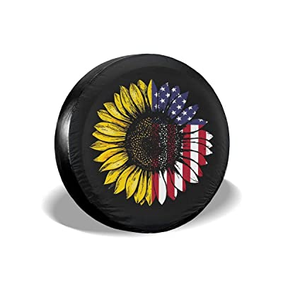 """Dizzy-K Spare Tire Cover Sunflower Polyester Waterproof Adjustable Universal Portable Wheel Covers Fits for Jeep Trailer RV SUV Truck Camper Travel Trailer (14"""" Fits for tire Diameter 60-69cm): Automotive"""