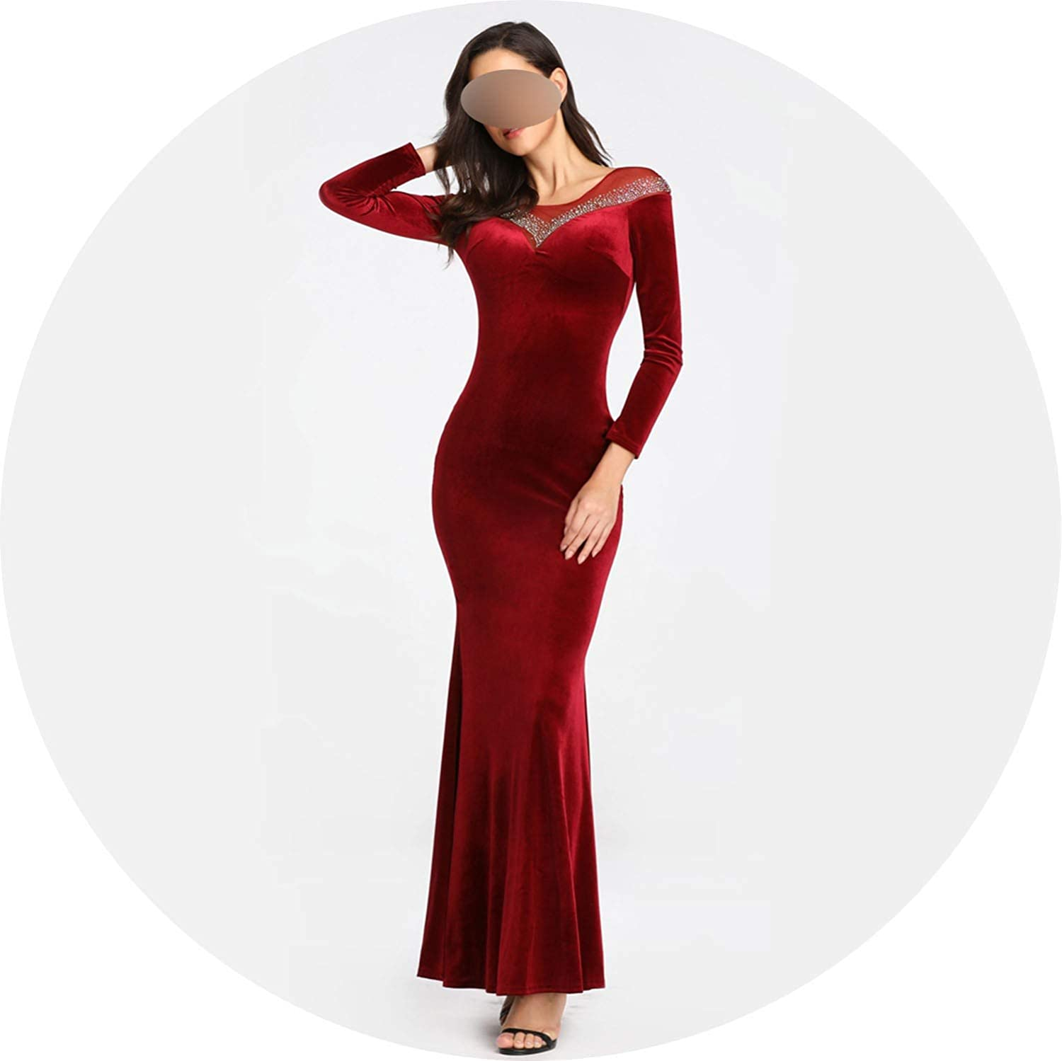 Dark Red pink flowers Velvet Solid color Long Sleeve Evening Dress Ironing Crystal Formal Party Dress Real Simple