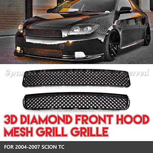 For 04-07 Scion tC Jdm 3D Diamond Mesh Grilles 2Pc Hood+Bumper Abs Black (Abs Front Grill Carbon)