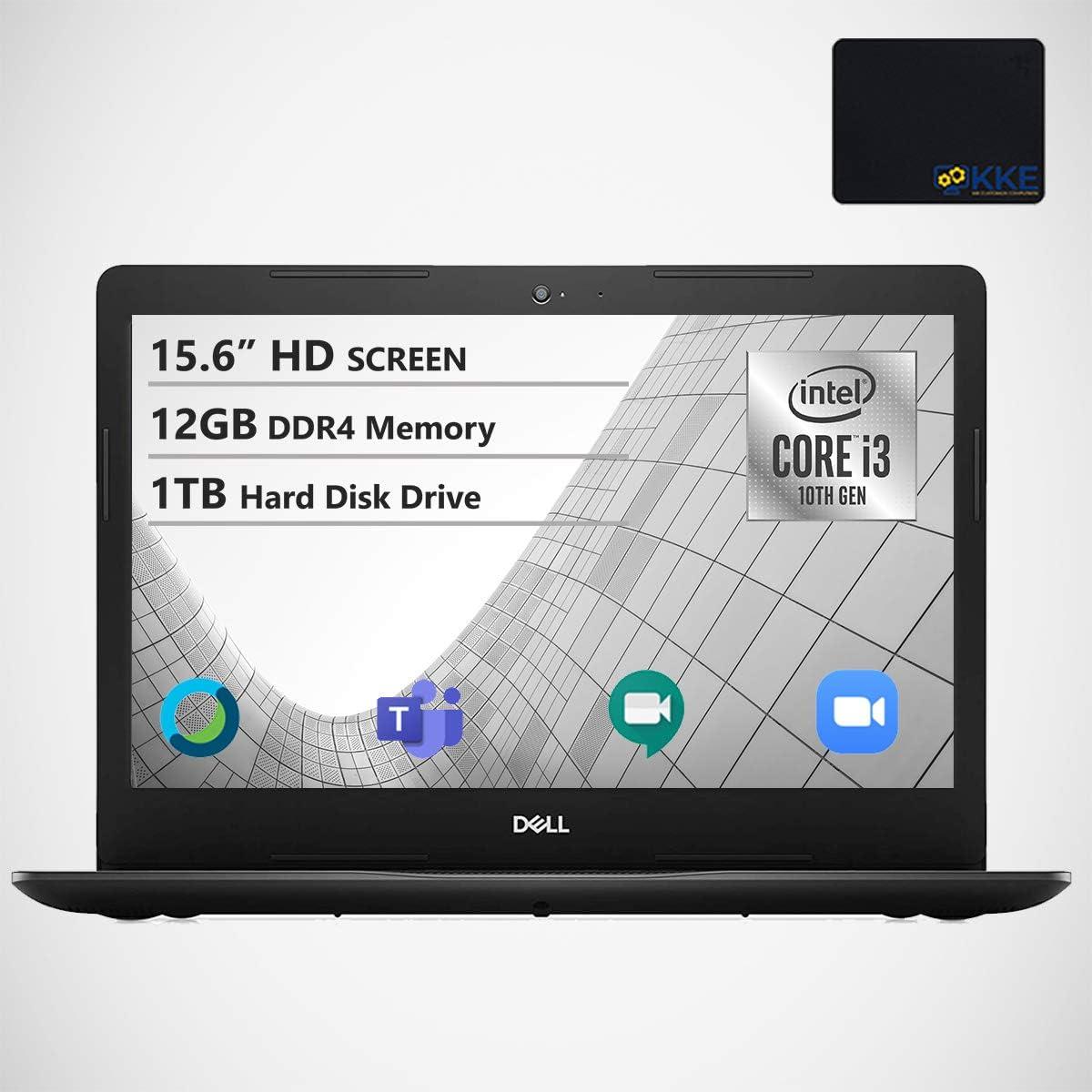 "Dell Inspiron 15.6"" HD Laptop, Intel Core i3-1005G1 Processor, 12GB DDR4 Memory, 1TB HDD, WiFi, Webcam, Online Class Ready, HDMI, Bluetooth, KKE Mousepad, Win10 Home, Black"
