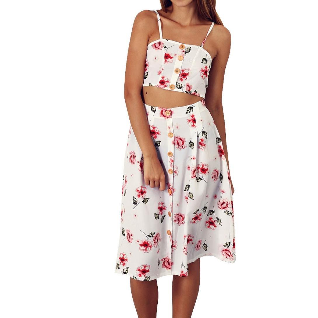 Spbamboo Women Summer Beach Evening Party Print Tank Two-Piece Sling Skirt Sets