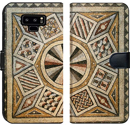(Samsung Galaxy Note 9 Flip Fabric Wallet Case Image 10496253 Roman Mosaic Tile Floor with Geometric Pattern )