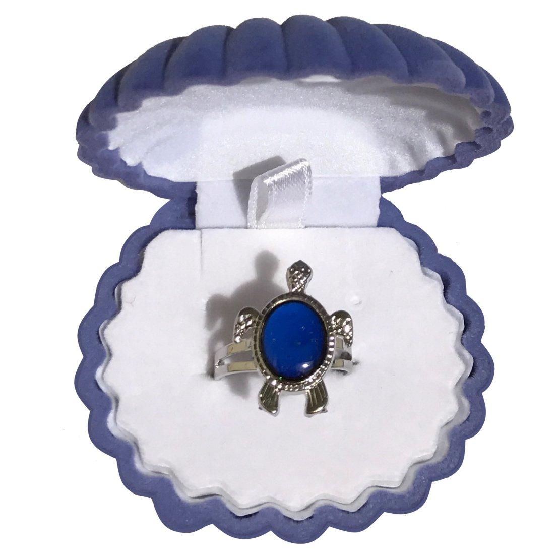 Mermaid Girls Turtle Mood Ring with Velvet Shell Ring Box (Blue)