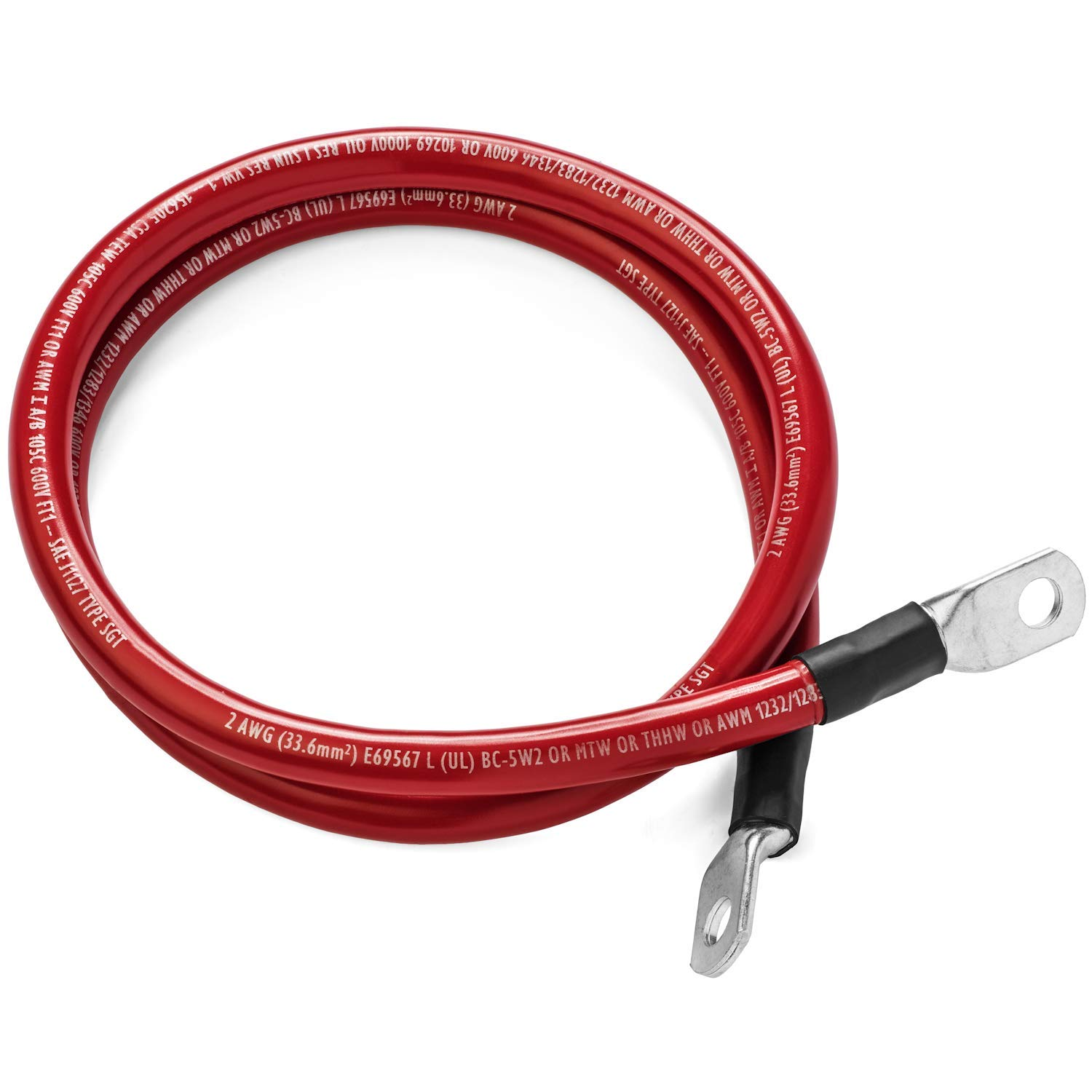 Red 20 Foot 0 Gauge 1/0 AWG Battery Cable by Spartan Power, Positive Only (20 FT 3/8'' Ring Terminals) by Spartan Power