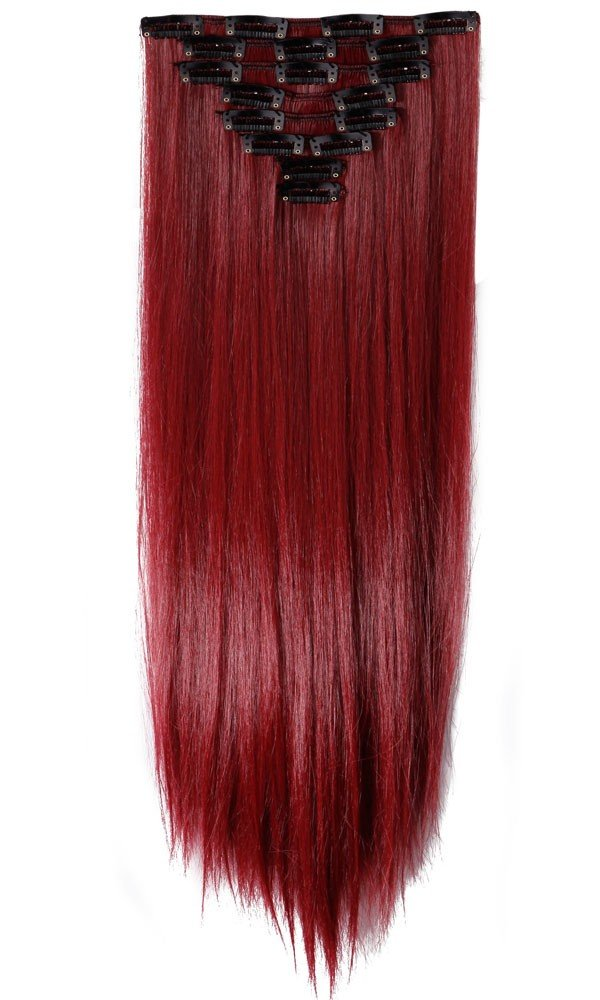Amazon 22 full head clip in hair extension straight black s noilite 26 inches66cm long straight maroon mix dark red full head pmusecretfo Choice Image