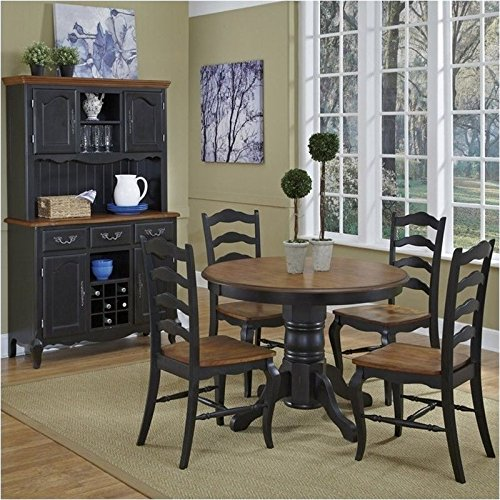 Bowery Hill 5 Piece Dining Set in Oak and Rubbed Black