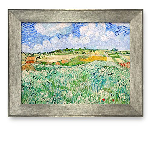 Plain near Auvers by Vincent Van Gogh Framed Art Print Famous Painting Wall Decor Silver Frame