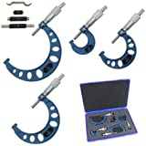 """Anytime Tools Premium Outside Micrometer Set 0-4""""/0.0001"""" Precision Machinist Tool w/Carbide Tips"""
