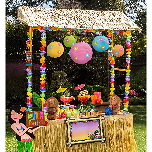 Party City Tiki Bar Decorating Kit, Includes Reusable Tiki Bar Hut, Garlands, Paper Lanterns, Yard Sign and More ()