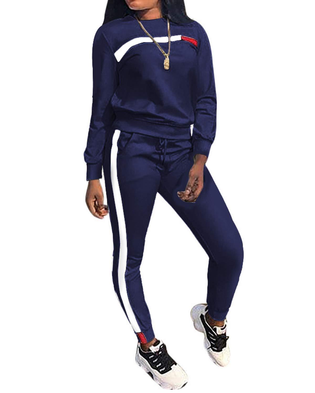 Top-Vigor Womens 2PCS Sweatsuits Set Long Sleeve Top and Bodycon Pants Jogging Suit Tracksuit for Women Ladies Plus Size Blue by Top-Vigor