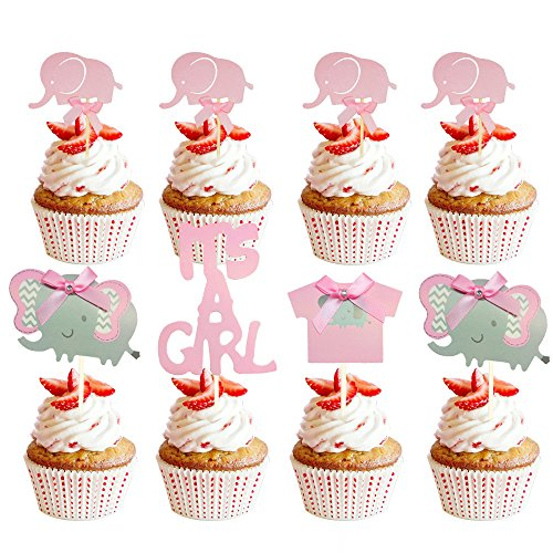 Suhome Pink Elephant Cake Topper Baby Elephant Themed Cupcake Picks It Is A Girl Baby Shower Birthday Party Decorations Supplies]()