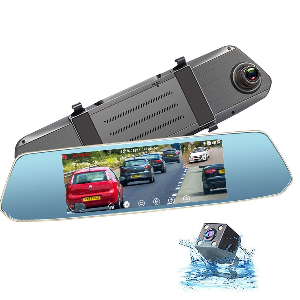 Dash Cam Front and Rear View Mirror Dashcam 1080P FHD Backup Camera for Cars 7 Inches with Touch Screen. by CAIDROX