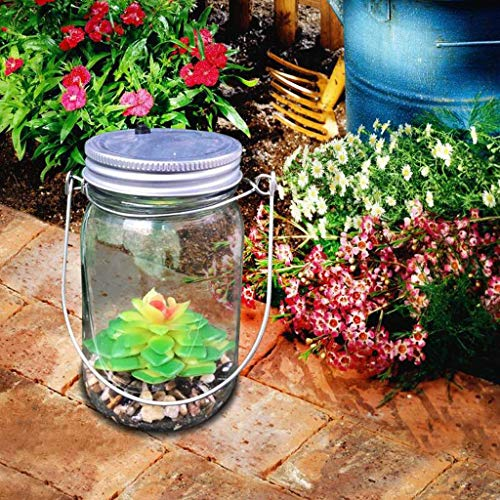 (Matoen Solar Power Battery Power Artificial Succulents Mason Jar Lights Bottle Nightlight Patio Outdoor Garden Yard Lawn Decor (Solar Powered))