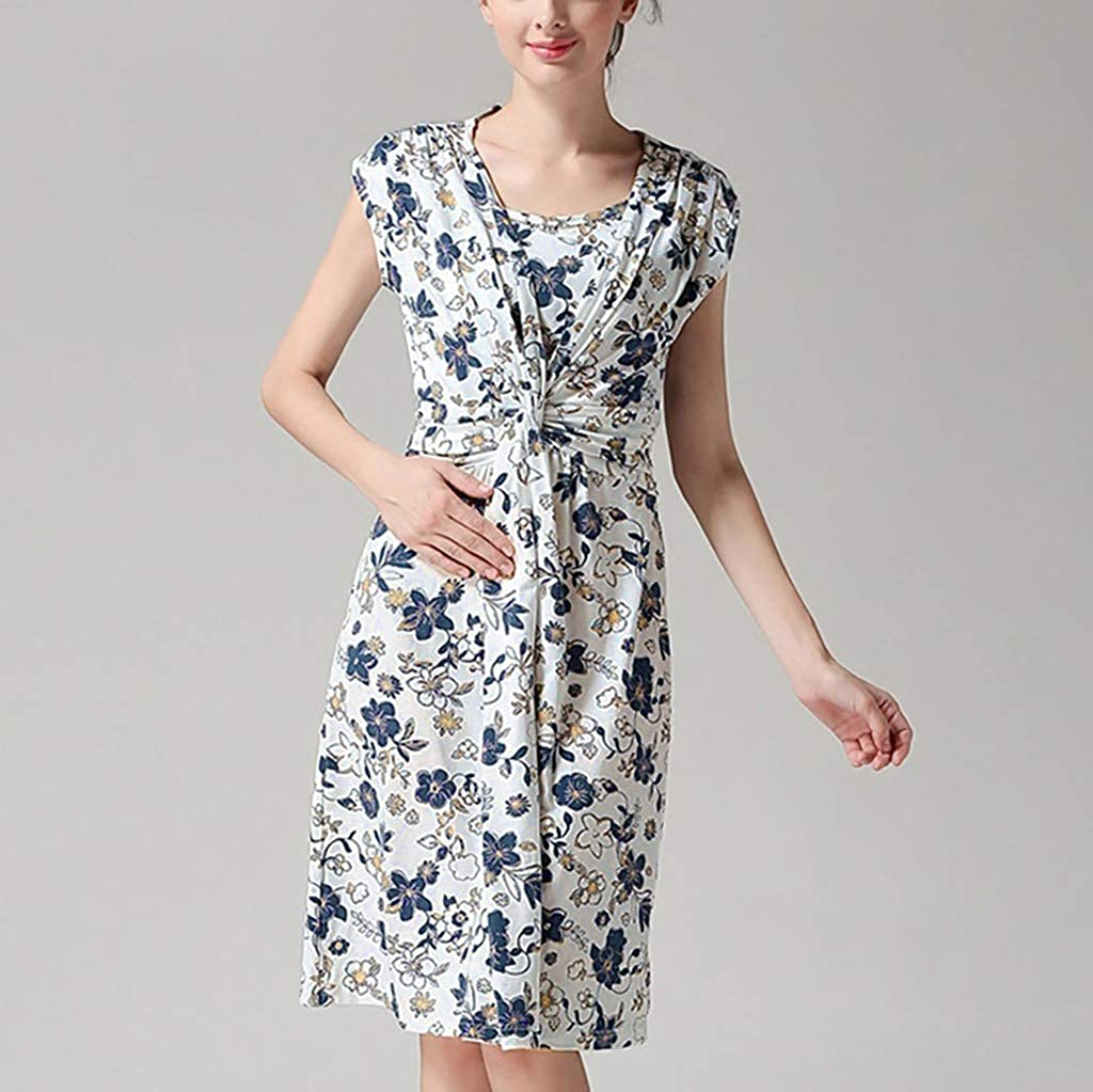 LEXUPA Womens Pregnancy Sleeveless Floral Print Breastfeeding Dress Nursing Sundress