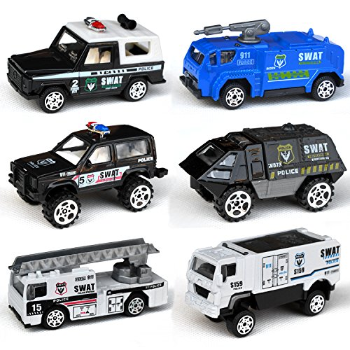 Tianmei 6 Cars in 1 Set Police styling 1:87 Alloy Diecast Vehicle Models Collection Kids Toy, Police Assault Car Truck Jeep Armored Vehicle (6pieces - Police)