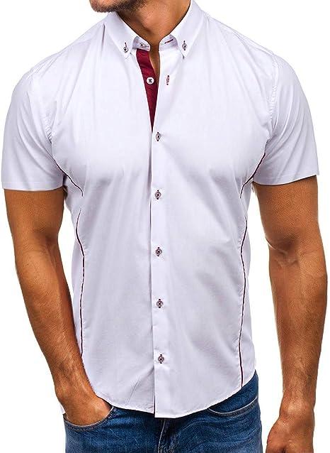Xlala Camisa para Hombre Cuello de pie sólido Casual botón Abajo Contraste Color Manga Corta Slim Fit Hippie Simple Top botón Business Blusa: Amazon.es: Deportes y aire libre