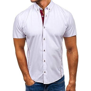 Blusa de Manga Corta con Botones y Cuello Giratorio para Hombre ...
