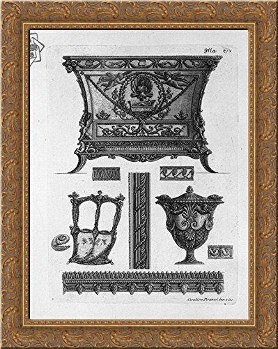 A chest of drawers, a side of the sedan, a decorative vase and various ornamental motifs 20x24 Gold Ornate Wood Framed Canvas Art by Piranesi, Giovanni Battista
