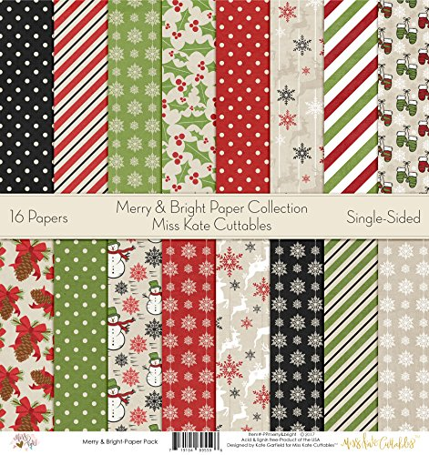 Pattern Paper Pack - Merry and Bright - Scrapbook Premium Specialty Paper Single-Sided 12