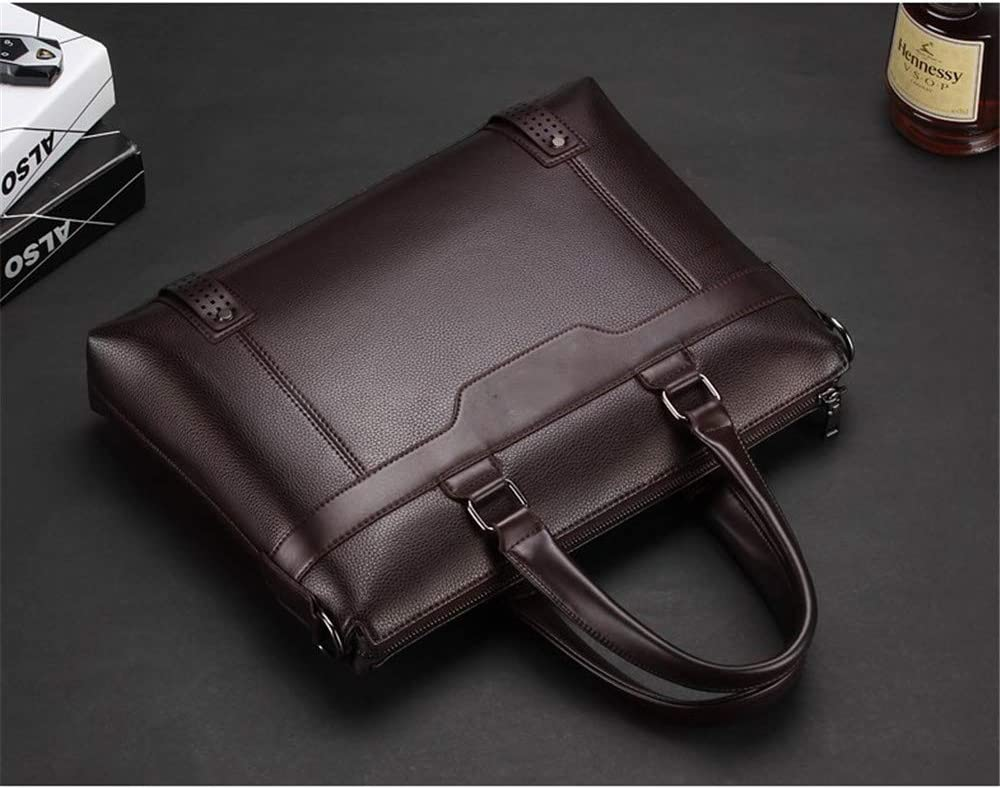 Color : Brown Zhouminli Vintage Leather Tote Briefcase Mens Travel Business College College Computer Bag Briefcase PU Leather Notebook Messenger Bag Tote Business Office Bag Work Shoulder Bag Tote