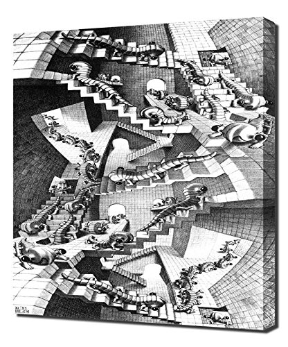 M.C. Escher - House-Of-Stairs - Canvas Art Print Reproduction
