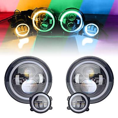 """Firebug 7"""" Inch RGB Halo LED Headlights & 4"""" Fog Lights Led Combo Headlamp Assembly Bluetooth Controlled RGB Light Kits for 2007-2020 Jeep Wrangler JK, JKU: Automotive"""
