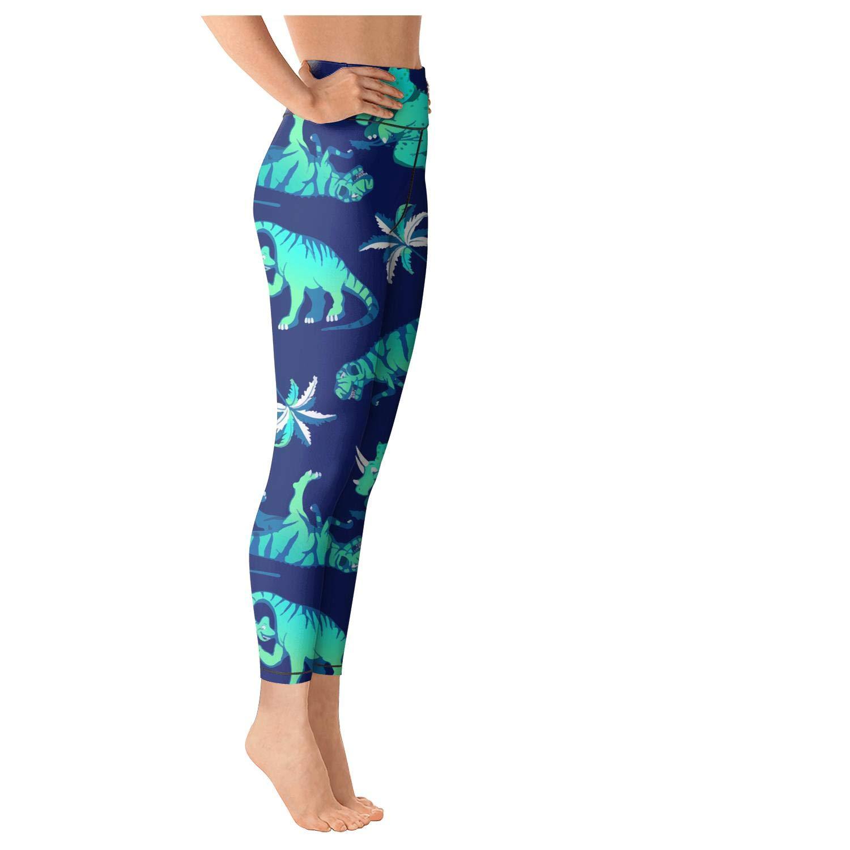 FullBo Black Dinosaur Night Star Yoga Capris Leggings Gym Workout Pant Women
