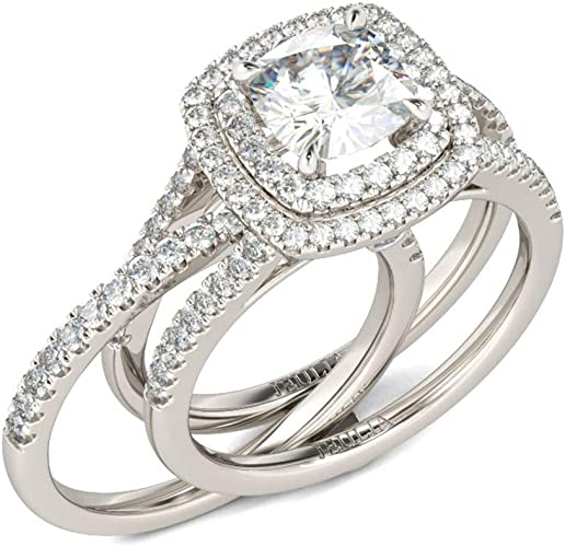 Size J-U 925 Sterling Silver /& CZ Crystal Engagement Wedding Ring /& Band Set
