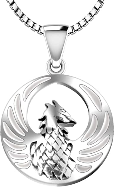 US Jewels And Gems Ladies 925 Sterling Silver 0.875in Phoenix Bird Inlaid Simulated Mother of Pearl Pendant Necklace 18in to 24in