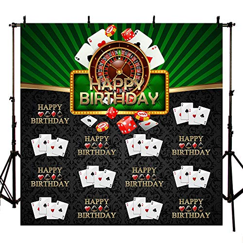 MEHOFOTO 8x8ft Casino Themed Green and Black Adult Step and Repeat Happy Birthday Party Photo Studio Backgrounds Banner Poker Card Dice Backdrops for Photography]()