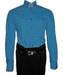 Pierre Martin Designer Herren Hemd klassischer 2 Kragen Herrenhemd Slim Fit  tailliert Bügelfrei Langarm Schwarz Weiß da3835763b