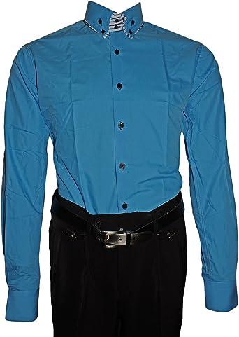 Designer Hombre Camisa Cuello de 2 clásico Señor Camisa Slim Fit Entallado Estribo Libre Manga Larga Negro Blanco Azul Rosa: Amazon.es: Ropa y accesorios