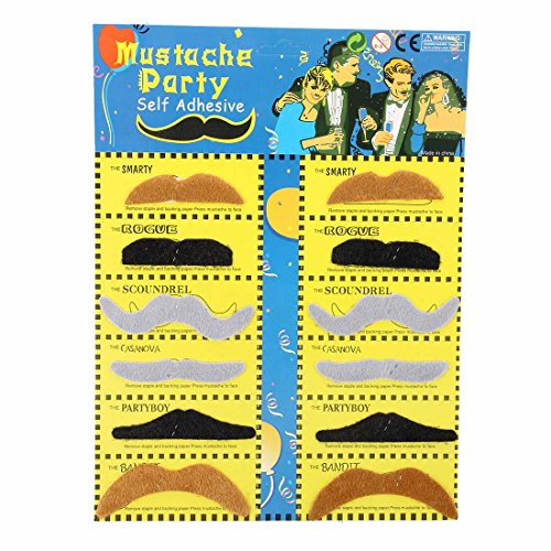 Costume-TOOGOO(R) Pack 12 Fake Mustache Fake Adhesive Dress up Costume Party (Artificial Moustache)