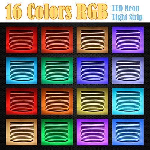 LED NEON LIGHT, IEKOV AC 110-120V Flexible RGB LED Neon Light Strip, 60 LEDs/M, Waterproof, Multi Color Changing 5050 SMD LED Rope Light + Remote Controller for Party Decoration (65.6ft/ 20m) by IEKOV (Image #5)