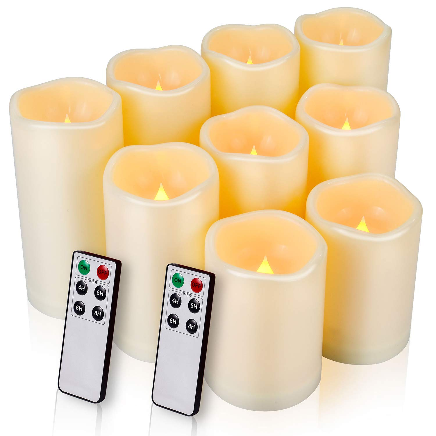 Flameless Candles LED Candles Outdoor Candles Waterproof Candles(D: 3'' x H: 4''5''6'') Battery Operated Candles Plastic Pack of 9 (Battery Not Included) by Enido