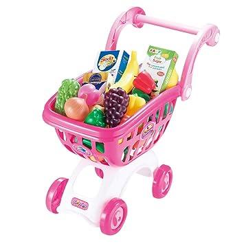 Gusspower Carro de la Compra para niños con Juguetes Preciosos para niños y niñas Que pretienden a Jugar con Alimentos y Frutas Jugando con comestibles: ...