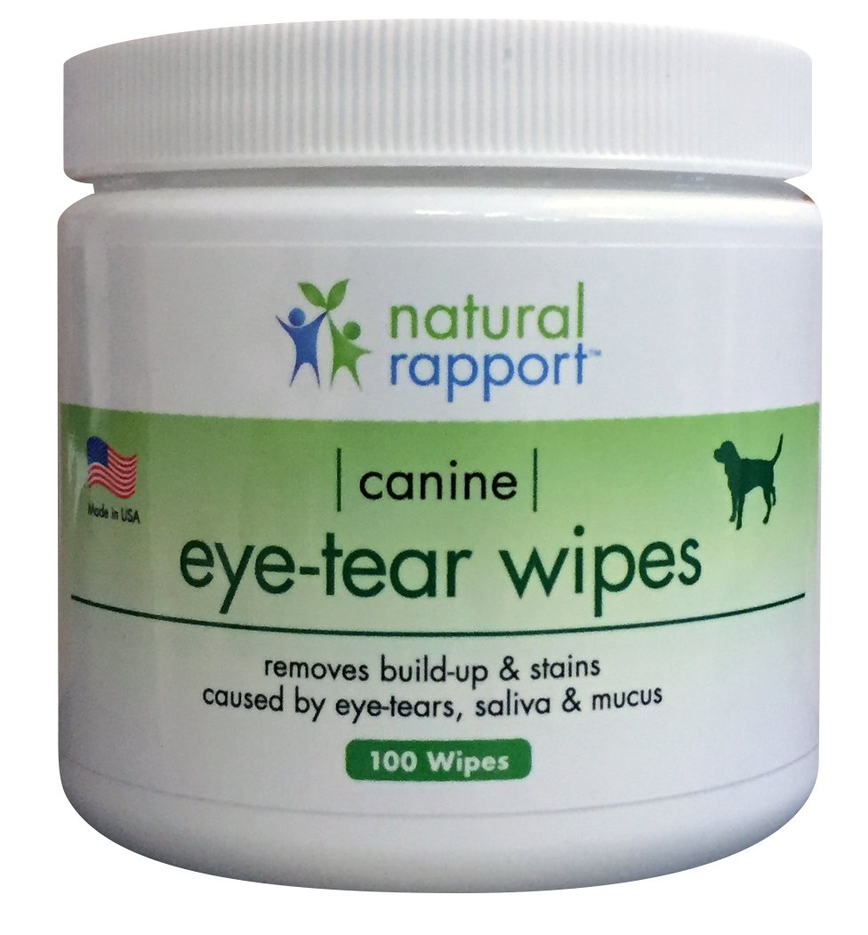 Natural Rapport 100-Count Wipes - Dog Eye Wipes Tear Stain Removing for Dogs