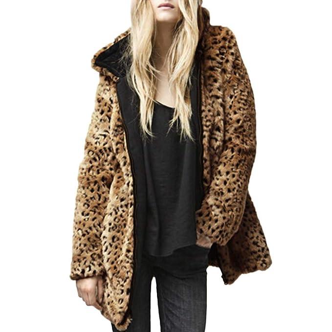 Abrigo Estampado de Leopardo Mujer, LANSKIRT Chaqueta Invierno con Capucha para Mujer Cremallera de Piel Sintética Cardigan Casual Bolsillo Outwear Parka: ...