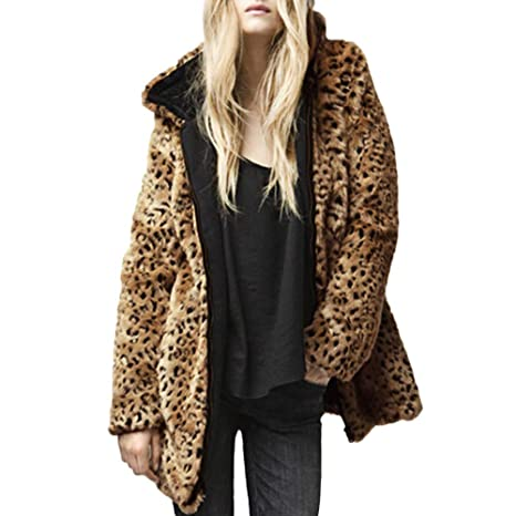 Hattfart Womens Faux Fur Coat Zipper Leopard Print Winter ...